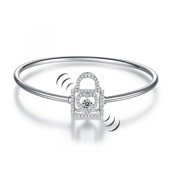 Heart Lock Dancing Stone Bangle Solid 925 Sterling Silver Good for Bridal Bridesmaid 1