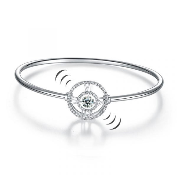 Roman Number Dancing Stone Bangle Solid 925 Sterling Silver for Women 1