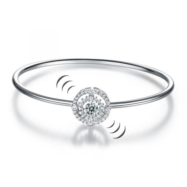 Halo Dancing Stone Bangle Solid 925 Sterling Silver for Women 1