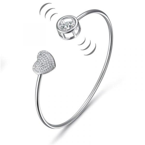 Dancing Stone Heart Bangle Solid 925 Sterling Silver Bridal Wedding 1