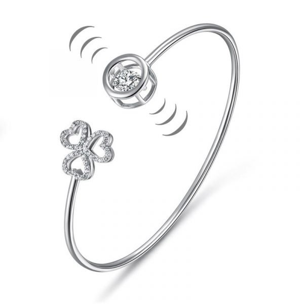 Dancing Stone 3 Hearts Flower Bangle Solid 925 Sterling Silver Bridal Wedding 1
