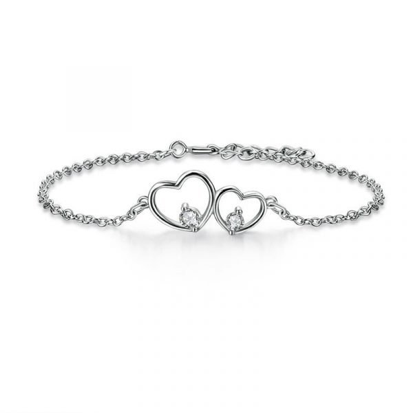 Solid Sterling Silver Bracelet Double Heart Bridesmaid Wedding Gift 1