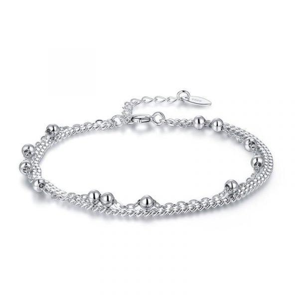 Solid Silver Bracelet Dangle Ball Bridesmaid Wedding Birthday Gift 1
