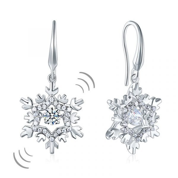 Classic Dancing Stone Dangle Drop Earrings Snowflake Sterling Silver Wedding Gift 1