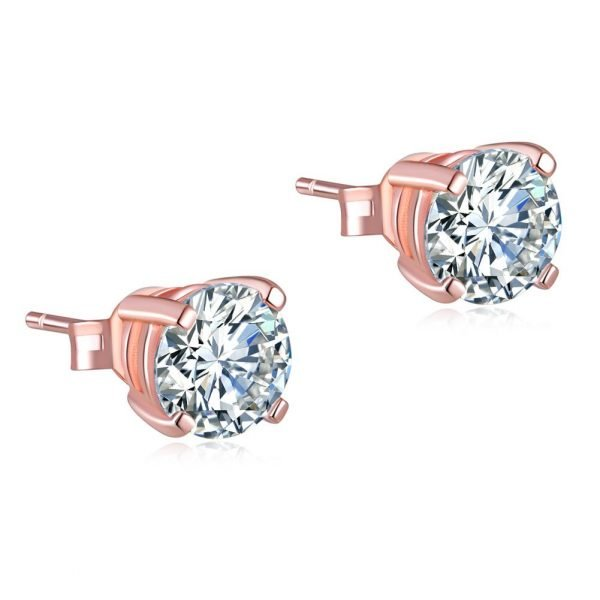 1 Carat Created Diamond Stud Earrings 925 Sterling Silver Rose Gold Plated 1