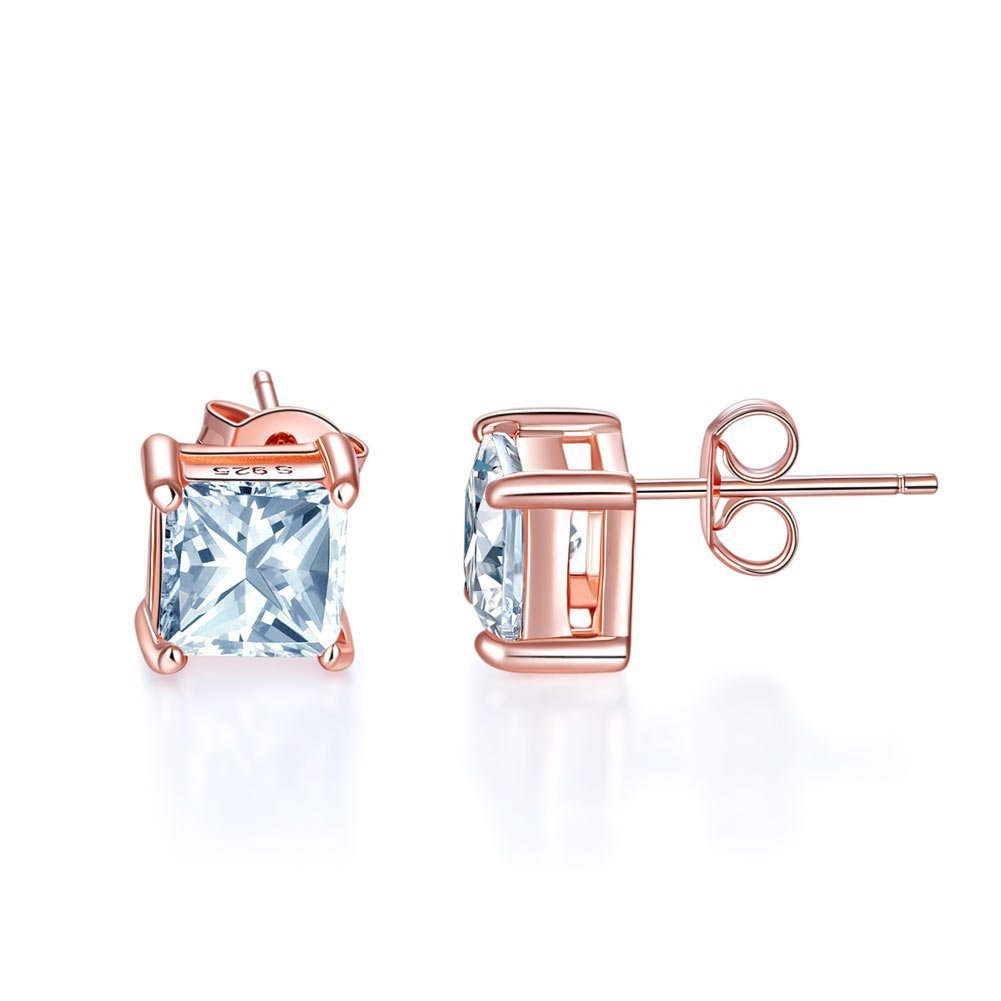 95c7cb26c9173 1 Ct Princess Cut Created Diamond Stud Earrings 925 Sterling Silver Rose  Gold Plated