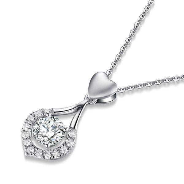 Heart Tear Drop Pendant Necklace Jewelry Created Diamond 1