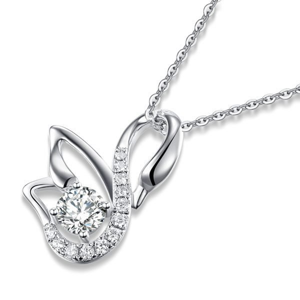 Swan Pendant Necklace 925 Sterling Silver Jewelry Created Diamond 1