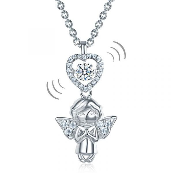 Angel Heart Dancing Stone Kids Girl Pendant Necklace Solid Sterling Silver Children Jewelry 1