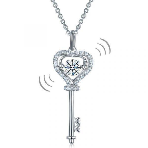 Key Heart Dancing Stone Kids Girl Pendant Necklace Sterling Silver Children Jewelry 1
