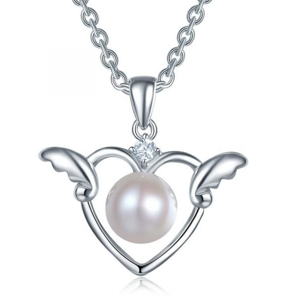 Kids Girl Angel Heart Pendant Necklace Sterling Silver Children Jewelry 1