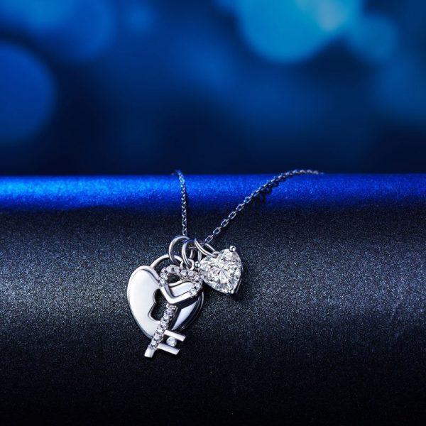 Love Heart Lock Key 925 Sterling Silver Pendant Necklace 1.5 Carat Created Diamond 1