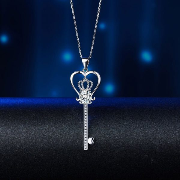 Love Heart Crown Key Pendant Necklace Created Diamond Jewelry 1.25 Carat 1