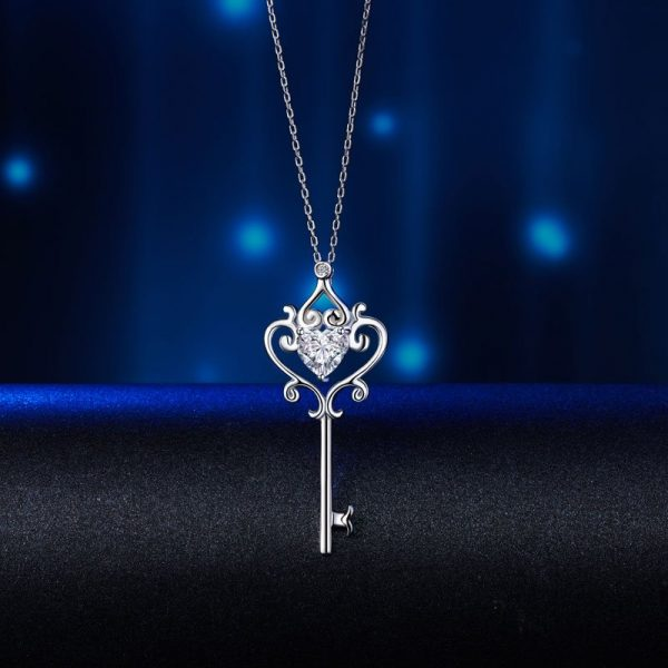 Love Heart Key Pendant Necklace Vintage Style 1.5 Carat Created Diamond 1
