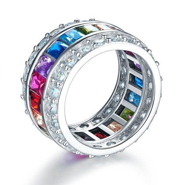 Multi-Color Created Topaz Band Wedding Anniversary Ring 1