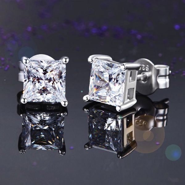 925 Sterling Silver Stud Earrings 1 Carat Princess Cut Created Diamond 1