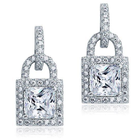 Created Diamond Dangle Drop Key Lock Sterling 925 Silver Earrings 1