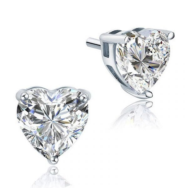 4 Carat Heart Cut Created Diamond Stud 925 Sterling Silver Earrings 1
