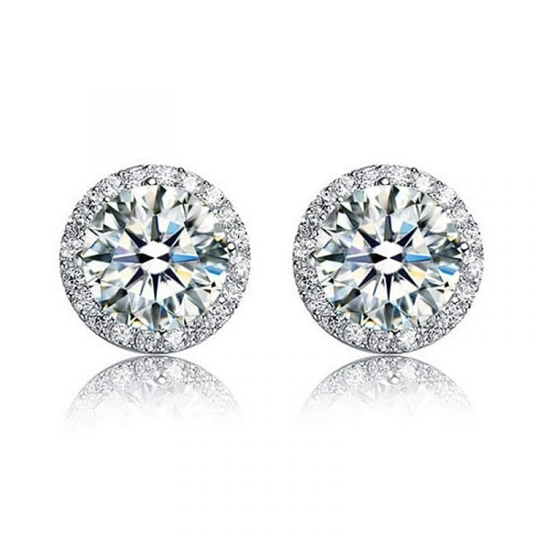2 Carat Round Cut Created Diamond Halo Stud 925 Sterling Silver Earrings 1