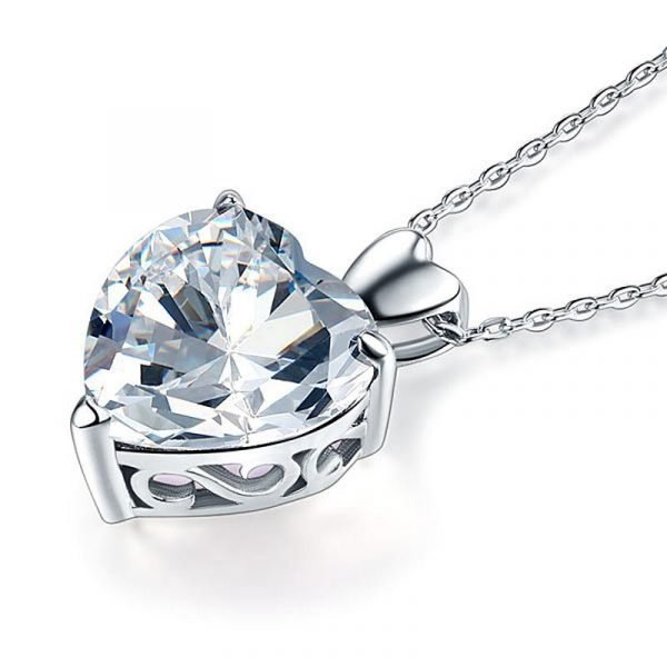 Heart Created Diamond Pendant Necklace Bridesmaid Wedding Jewelry 1