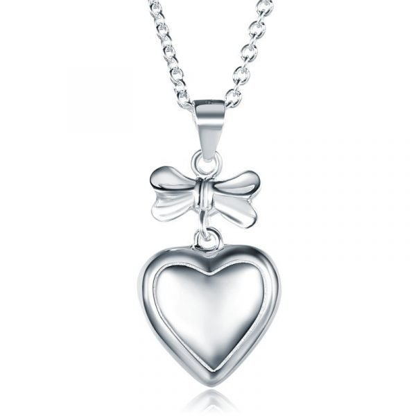 Kids Girl Ribbon Heart Pendant Necklace Sterling Silver Children Jewelry 1