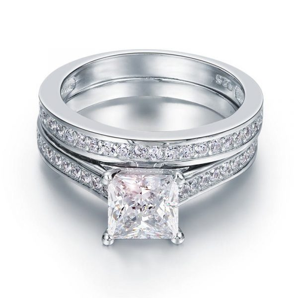 1.5 Carat Princess Cut Created Diamond 925 Sterling Silver Engagement Ring 1