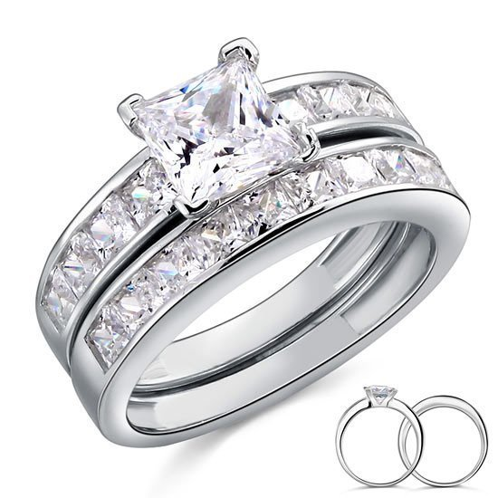 1 Ct Created Diamond Wedding Engagement Ring Set 1