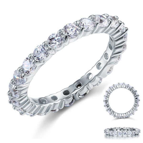 Wedding Band Eternity Stacking Ring Jewelry Round Cut 1