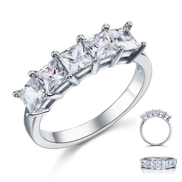 Princess Cut Five Stone 1.25 Ct Solid Bridal Wedding Band Ring Jewelry 1