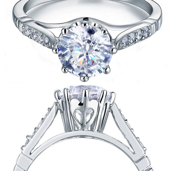 2 Carat Round Cut Ring Solid 925 Sterling Silver Wedding Anniversary Engagement 1
