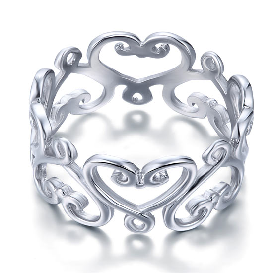 925 Sterling Silver Heart Ring Band Wedding Band Jewelry 1
