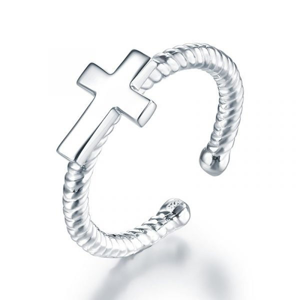 Kids Girls Cross Ring Solid 925 Sterling Silver Children Jewelry Adjustable 1