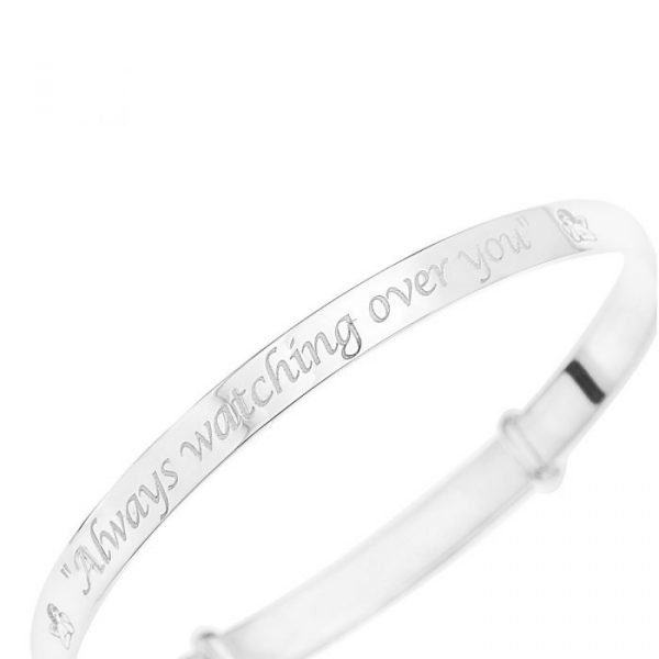 925 Sterling Silver Personalized Guardian Angel Expanding Bangle 1