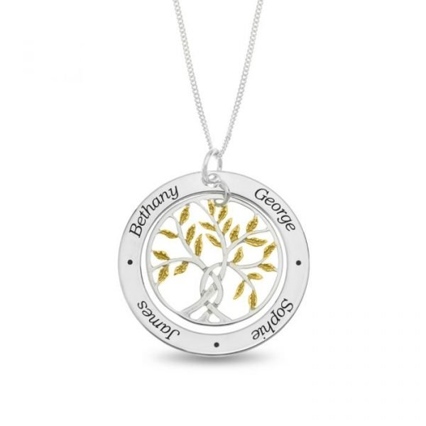 Sterling Silver Personalized 4 Names Family Tree Pendant Gold Plated Leaf Design 1
