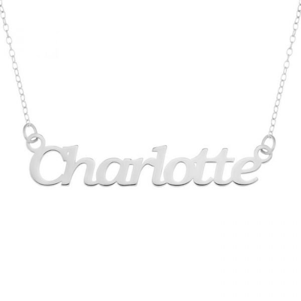 """Sterling Silver Personalized Name Necklace on 16"""" Trace Chain 1"""