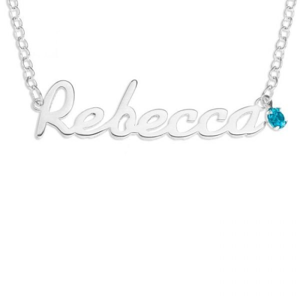 """Sterling Silver Personalize Name Plate Round BirthStone Necklace 16"""" Trace Chain 1"""
