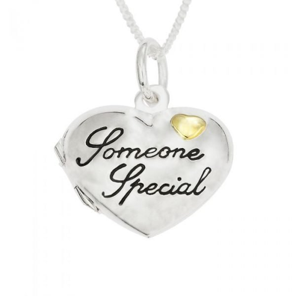 "Silver Personalized Someone Special Heart Locket on 18""Curb Chain 1"