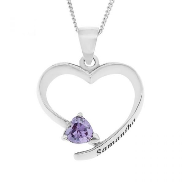 "Sterling Silver Personalized Open Heart CZ Birth Stone Pendant On 18"" Curb Chain 1"