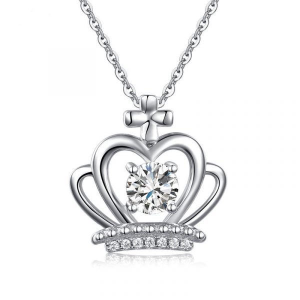 Crown Pendant Necklace Solid 925 Sterling Silver Jewelry Created Diamond 1