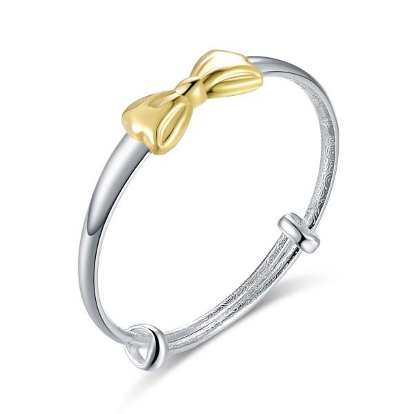 Newborn Baby 999 Silver Baby Bangle Gold Plated Ribbon 1