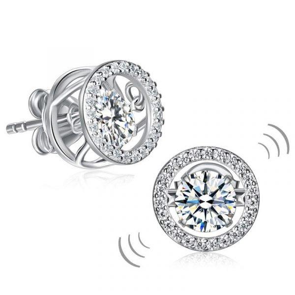 Dancing Stone Stud Earrings 925 Sterling Silver 1