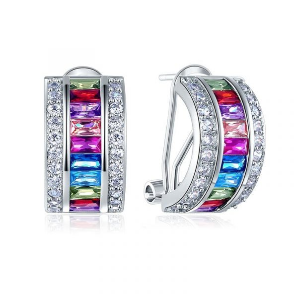 Multi-Color Stones 925 Sterling Silver Earrings Jewellery 1