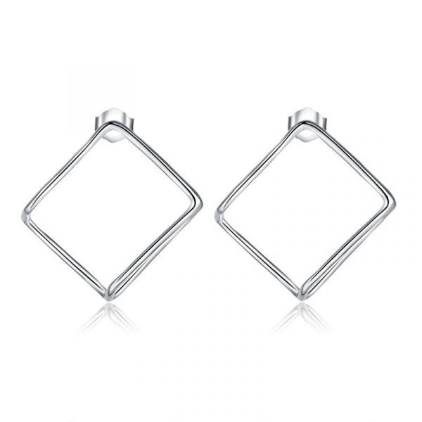 Cube Stud 925 Sterling Silver Earrings Fashion Stylish Jewellery 1