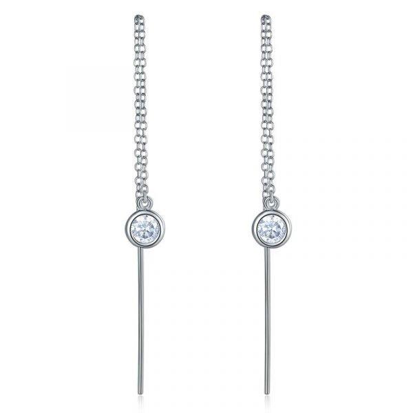 Dangle Drop 925 Sterling Silver Earrings One Line Long Elegant 1