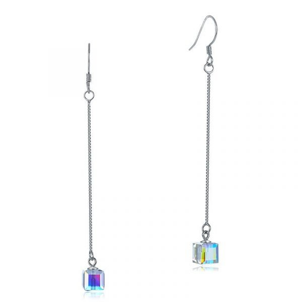 Dangle Drop Line 925 Sterling Silver Earrings AB Austrian Crystal Party Birthday Gift 1