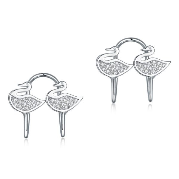 Solid 925 Sterling Silver Clip on Earrings Swan 1