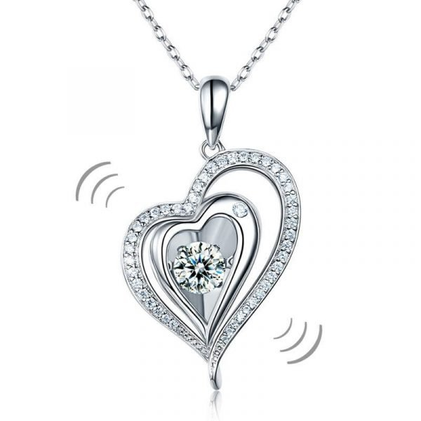 Dancing Stone Heart Pendant Necklace 925 Sterling Silver 1