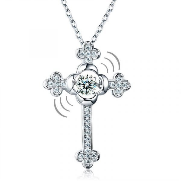 Dancing Stone Cross Pendant Necklace 925 Sterling Silver Vintage Style Gothic 1