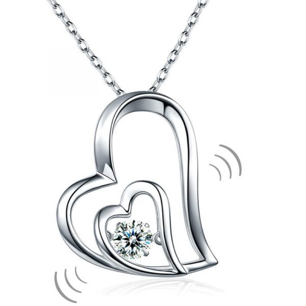 Dancing Stone Double Heart Pendant Necklace 925 Sterling Silver 1