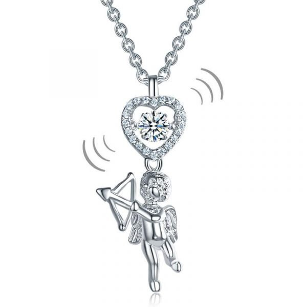Love Angel Heart Dancing Stone Kids Girl Pendant Necklace 925 Sterling Silver Children Jewellery 1